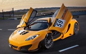 Обои жёлтый, McLaren, yellow, GT3, MP4-12C, открытые двери, макларен