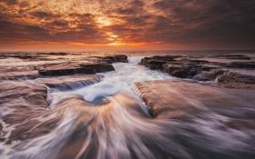 Картинка скалы, океан, Австралия, волны, море, выдержка, пляж