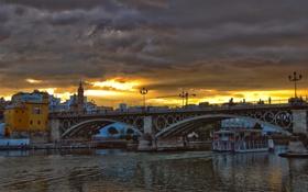 Обои тучи, мост, город, река