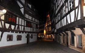 Картинка ночь, улица, Франция, дома, Страсбург, фахверк