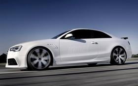 Обои Audi, Ауди, Белый, Колеса, Машина, Rieger, Вид сбоку