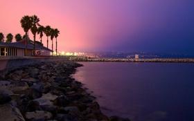 Обои закат, город, пальмы, побережье, california