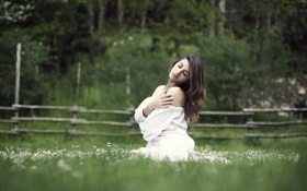 Картинка поле, лето, девушка, настроение