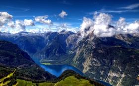 Обои облака, деревья, озеро, высота, Горы