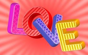 Обои надпись, любовь, буквы, love, слово, фон, цветные