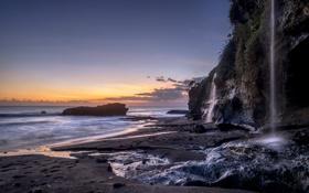 Картинка море, пейзаж, водопад