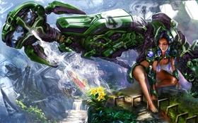 Картинка трава, девушка, цветы, экзоскелет