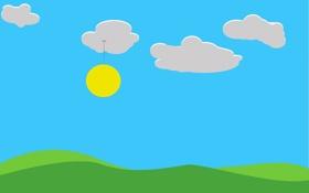 Обои облака, трава, небо, солнце, холмы, светильник, природа