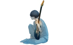Картинка свет, гитара, Парень, сидит