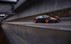 Обои дорога, Бугатти, Bugatti, Вейрон, Veyron, деревья., vitesse