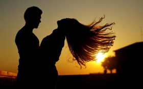 Обои девушка, закат, настроение, романтика, пара