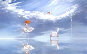 Картинка небо, вода, девушка, облака, отражение, аниме, арт