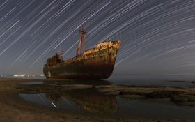 Обои море, космос, корабль