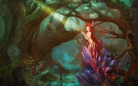 Обои лес, кристалл, девушка, ручей, волосы, чаща, фэнтези