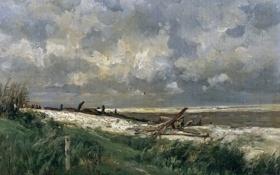 Обои пейзаж, природа, картина, Карлос де Хаэс, Дюны Виллервиля