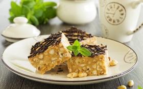 Картинка сладость, выпечка, cakes, листики мяты, mint leaves, ореховый торт, sweets nut cake
