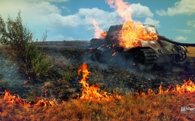 Обои поле, огонь, Германия, арт, танк, танки, WoT