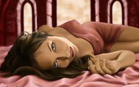 Обои ткань, лежа, арт, постель, девушка, розовое