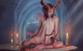 Картинка змеи, девушка, свечи, рога, Демон, фотоманипуляция