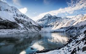 Картинка зима, небо, облака, снег, горы, озеро