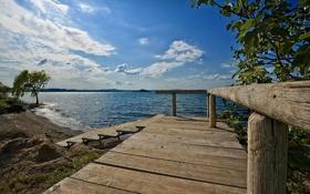 Картинка лето, пейзаж, мост, озеро