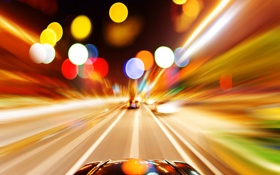 Картинка дорога, свет, машины, ночь, город, огни, выдержка