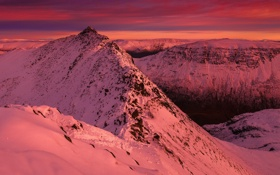 Обои Mountains, Landscape, Winter, Sunset, Helvellyn