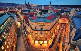 Картинка машины, город, здания, дороги, дома, вечер, Прага