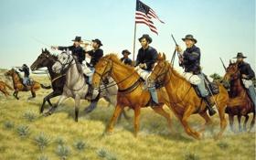 Обои трава, оружие, флаг, лошади, солдаты, америка