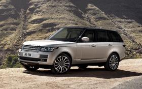 Обои фон, гора, серебристый, джип, внедорожник, Land Rover, Range Rover