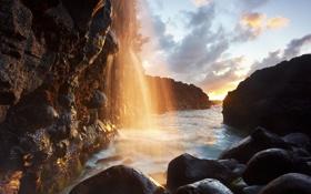 Картинка море, свет, природа, ручей, камни