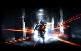 Обои коридор, стрельба, Battlefield3, оружие.