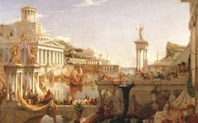 Обои вода, город, люди, здания, картина, живопись, Thomas Cole