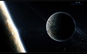 Картинка атмосфера, астероиды, звезды, поверхность