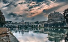 Обои мост, река, Рим, Италия