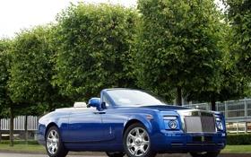 Обои деревья, синий, купе, london, coupe, rolls-royce, phantom