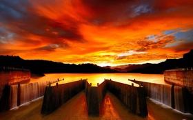 Обои небо, вода, облака, закат, углы, сооружение, водоём