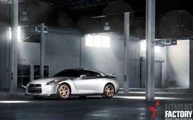 Картинка серебристый, Nissan, GT-R, ниссан, передняя часть, silvery, Fitment Factory