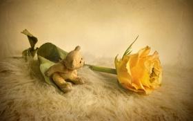 Обои стиль, игрушка, роза