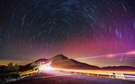 Картинка дорога, свет, пейзаж, ночь, звёзды