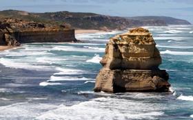 Обои скалы, волны, море