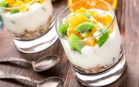 Обои апельсин, киви, фрукты, десерт, fruit, orange, dessert