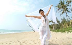 Обои азиатка, пляж, песок, накидка