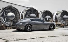 Обои трава, трещины, серый, Aston Martin, DBS, wheels, диски