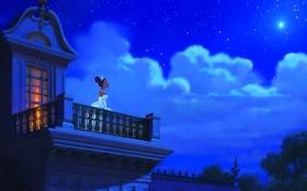 Обои сказка, облака, балкон, звезда, небо, ночь, мультфильм