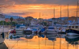 Картинка небо, облака, Франция, дома, яхты, лодки, вечер