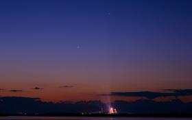 Картинка небо, звезды, планеты, корабль, шаттл, Марс, Юпитер