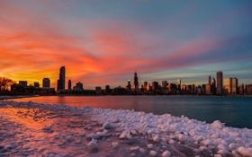 Обои небо, закат, небоскребы, вечер, Чикаго, USA, Chicago