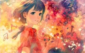 Картинка абстракция, ноты, музыка, рисунок, арт, девочка, kaisen