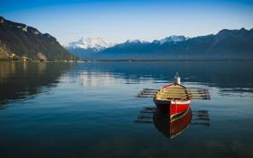 Картинка весла, небо, озеро, горы, отражение, лодка, зеркало